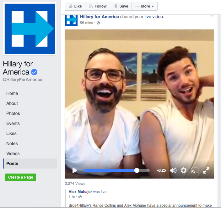 "Media Alert: BROS4HILLARY Announces ""The BrosCast"" Facebook Live Stream Event Featuring Special Guests Colin and Betsy Ebeling!"