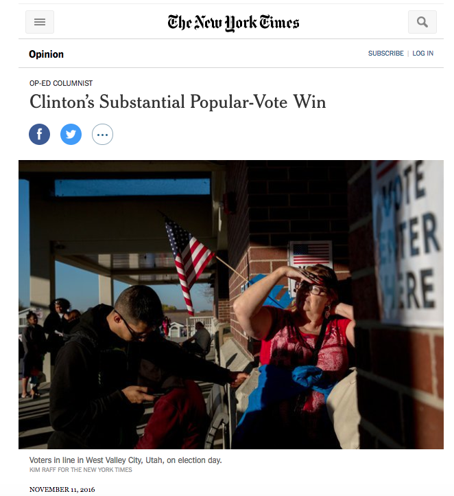 The New York Times declares Hillary Clinton won the popular vote by a substantial margin
