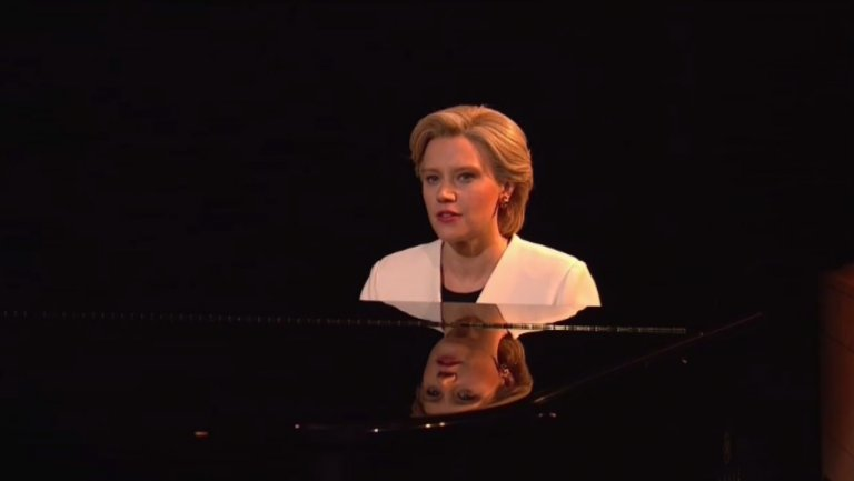 An emotional Kate McKinnon as Hillary Clinton sings Leonard Cohen's 'Hallelujah' on Saturday Night Live